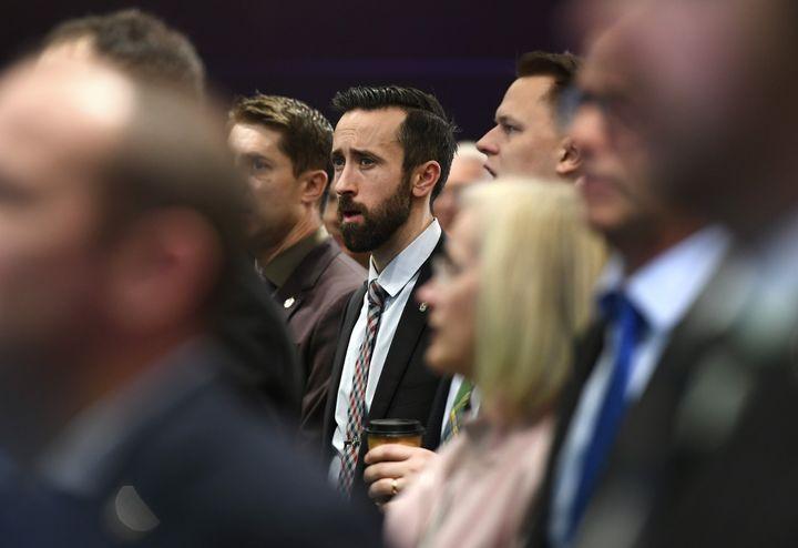 Conservative MP Derek Sloan attends a Conservative caucus retreat on Parliament Hill in Ottawa on Jan. 24, 2020.