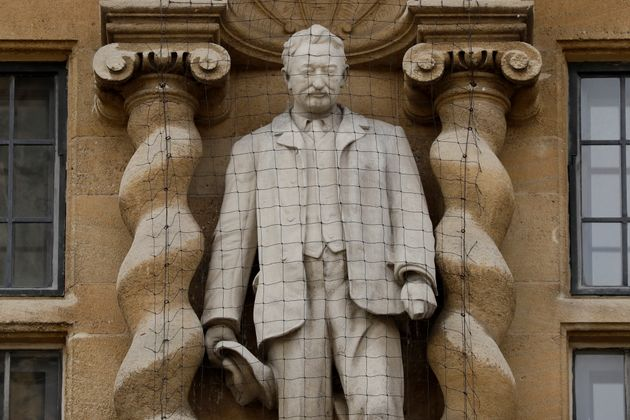 A statue of Cecil Rhodes, the controversial Victorian imperialist who supported apartheid-style measures...