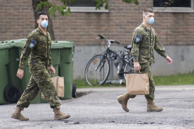Members of the Canadian Armed Forces are shown at Residence Yvon-Brunet, a long-term care home in Montreal...