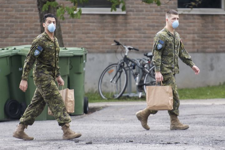 Members of the Canadian Armed Forces are shown at Residence Yvon-Brunet, a long-term care home in Montreal on May 16, 2020.