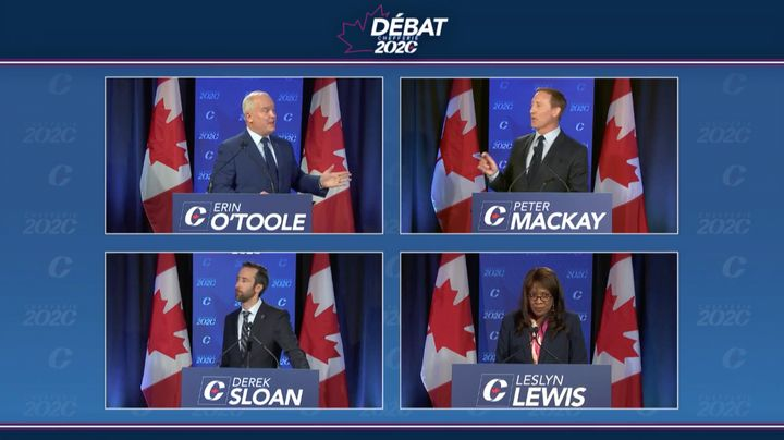 Conservative leadership candidates Erin O'Toole (top-left), Peter MacKay (top-right), Leslyn Lewis (bottom-right) and Derek Sloan (bottom-left) debate in French on June 17, 2020.