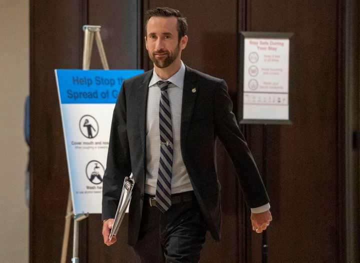 Conservative Party of Canada leadership candidate Derek Sloan arrives for the start of the French Leadership Debate in Toronto on June 17, 2020.
