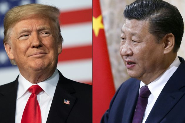 Recent portraits of China's President Xi Jinping (R) and US President Donald