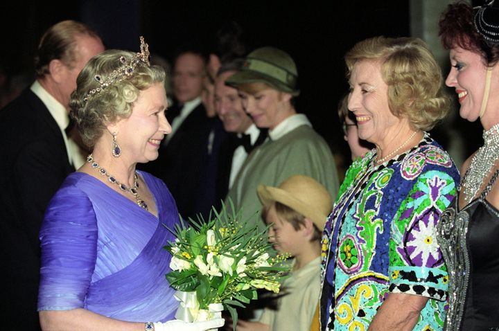 Dame Vera pictured with the Queen in 1992