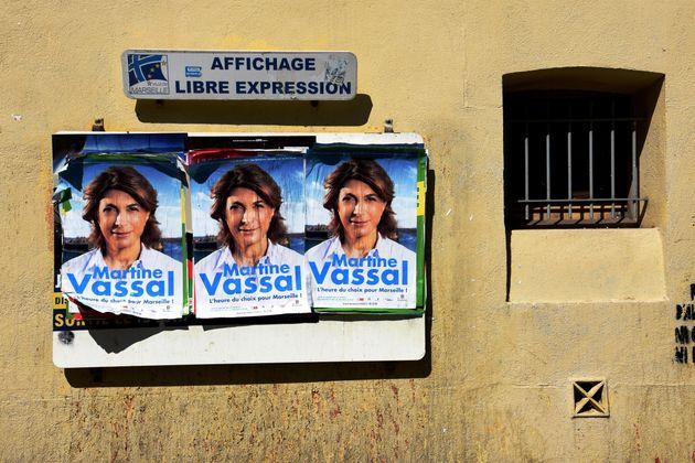 Affiches de campagne de Martine Vassal, candidate LR aux élections municipales de