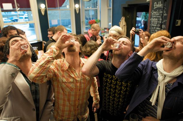 riotous drinking party in public