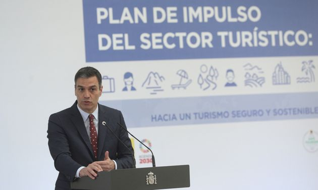 Pedro Sánchez, este jueves, en la presentación del plan de impulso del sector