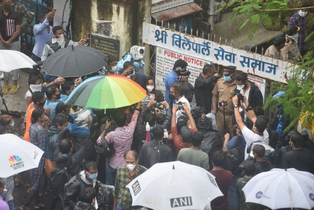 Media seen outside the crematorium as celebrities arrive for Sushant Singh Rajput's funeral at VileParle,...