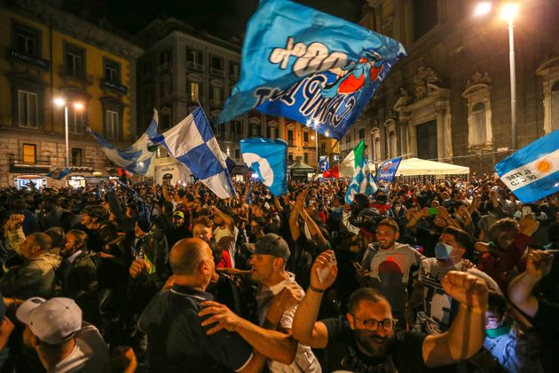NAPLES, ITALY - 2020/06/18: Napoli football fans celebrate the victory of the Italian Cup, won 4 to 2...