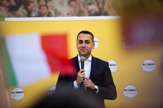 Italian Foreign Minister Luigi Di Maio attends a rally called by Five Stars Movement to protest against...