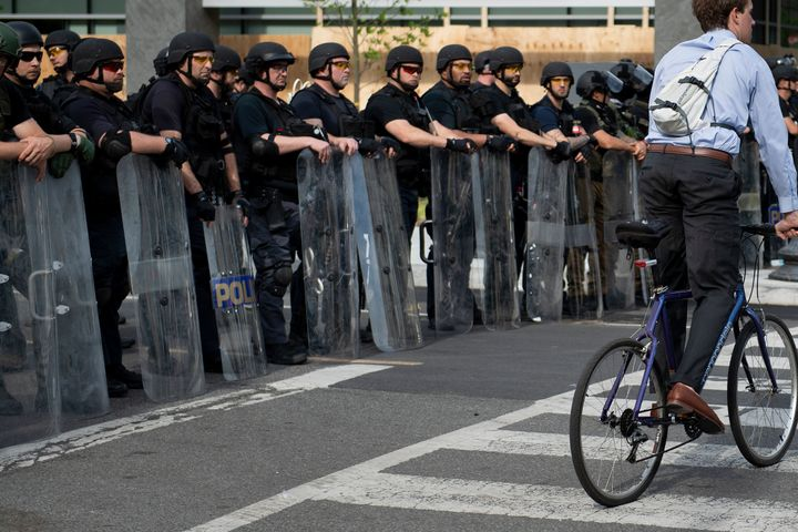 Members of the Federal Bureau of Prisons and other law enforcement block 16th Street near the White House on June 3.