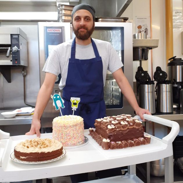 Chef Ben Limb with some of the food he has prepared for rough sleepers currently staying at the YHA Manchester
