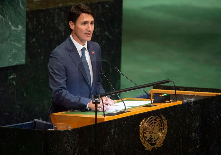Prime Minister Justin Trudeau delivers remarks during the Nelson Mandela Peace Summit plenary session at the United Nations headquarters on Sept. 24, 2018.
