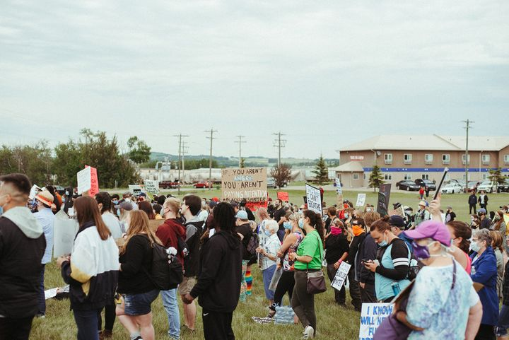 Hundreds gathered for a Black Live Matters event in Innisfail, Alta. on June 13, 2020.