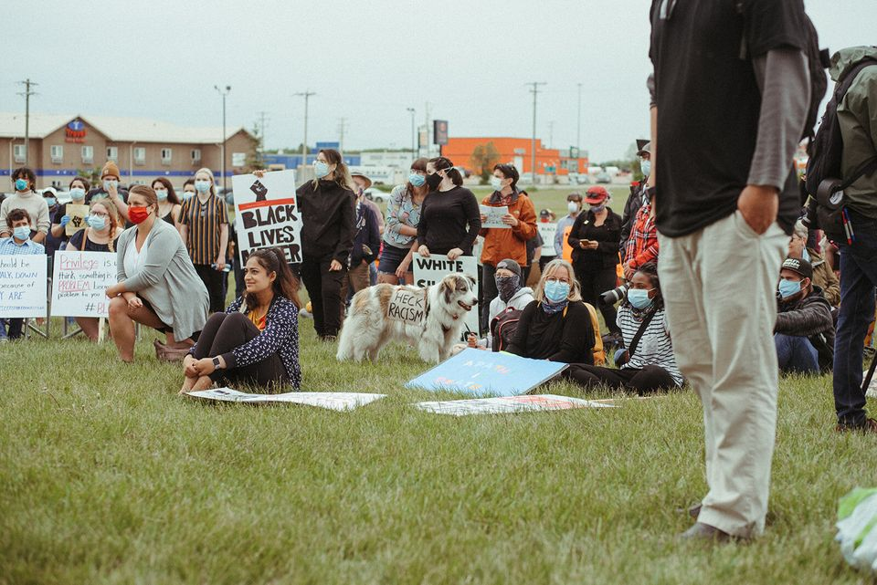 Hundreds attended a Black Lives Matter event in Innisfail, Alta. on June 13,
