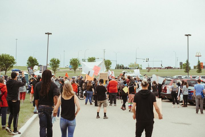 Hundreds attended a Black Lives Matter event in Innisfail on June 13, 2020.