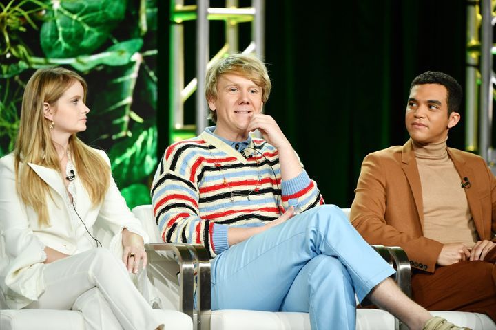 """PASADENA, CALIFORNIA - JANUARY 17: (L-R) Kayla Cromer, Josh Thomas and Adam Faison of """"Everything's Going to be Ok"""" speak during the Freeform segment of the 2020 Winter TCA Press Tour at The Langham Huntington, Pasadena on January 17, 2020 in Pasadena, California. (Photo by Amy Sussman/Getty Images)"""