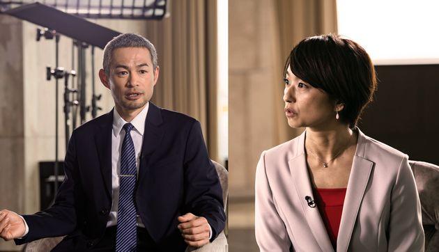 右側、フリーアナウンサーの住吉美紀さん。左側、イチロー(本名・鈴木一朗)。