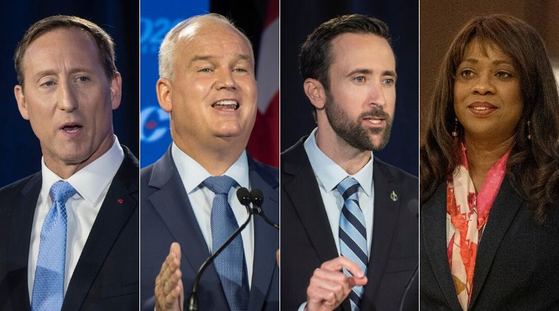 Conservative leadership candidates Peter MacKay, Erin O'Toole, Derek Sloan, and Leslyn Lewis are shown...