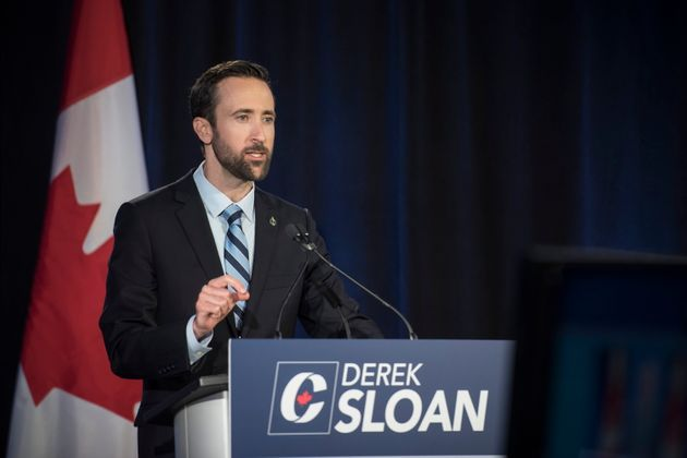 Conservative Party of Canada leadership candidate Derek Sloan speaks during the English debate in Toronto...
