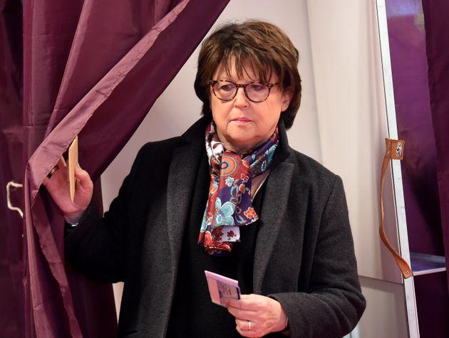 Martine Aubry, ici lors du premier tour des municipales à Lille, le 15 mars