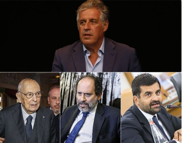 In alto Nino Di Matteo, in basso, da sinistra, Giorgio Napolitano, Antonio Ingroia e Luca