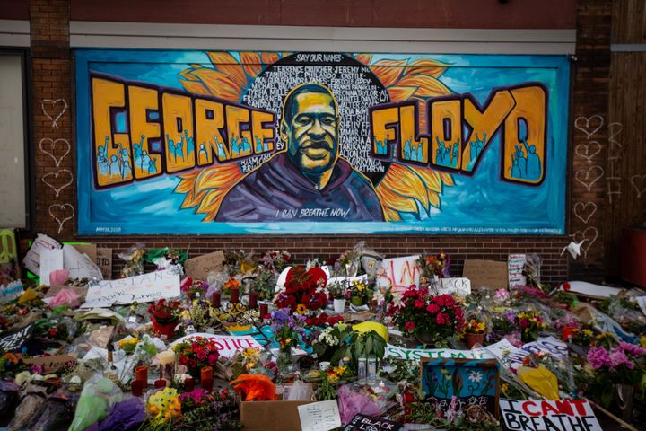 The makeshift memorial outside Cup Foods in Minneapolis where George Floyd was pinned by a Minneapolis police officer who kne