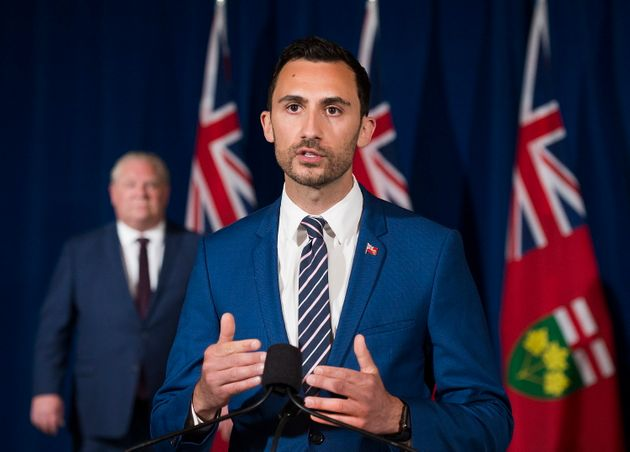 Ontario Education Minister Stephen Lecce addresses the media in Toronto on June 9, 2020. Lecce had promised...