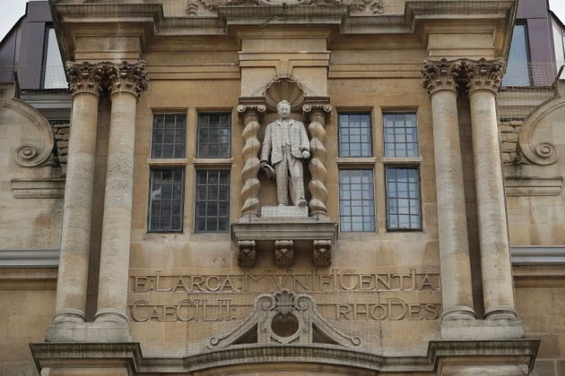 A likeness of Cecil Rhodes, the controversial Victorian imperialist who supported apartheid-style measures...