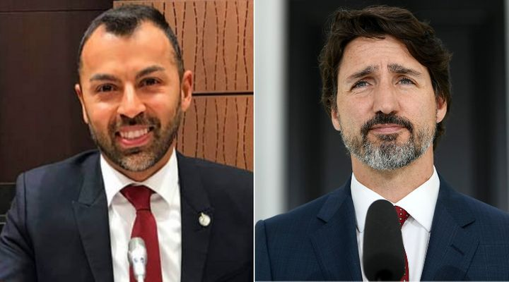 MP Marwan Tabbara and Prime Minister Justin Trudeau are shown in a composite image of photos from Tabbara's Facebook page and The Canadian Press.