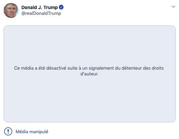 Trump signalé par Twitter pour avoir relayé une vidéo avec