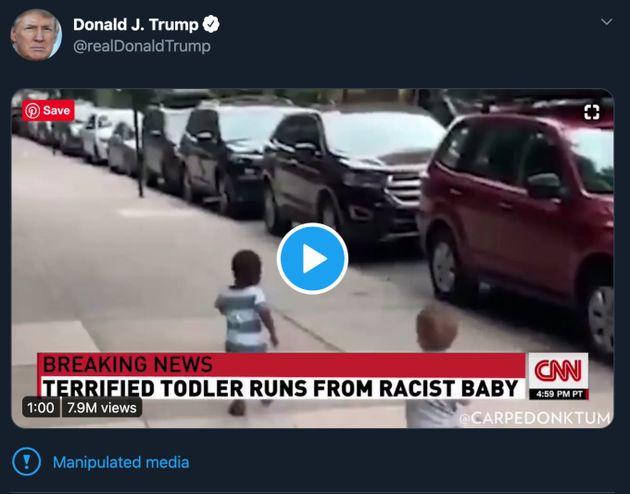 トランプ大統領、CNNを改ざんした動画をシェア ⇒