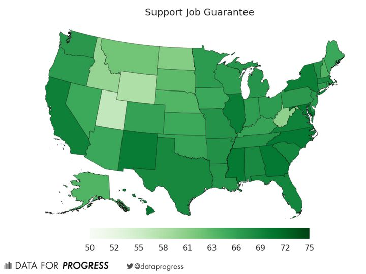 A chart from the think tank Data for Progress shows widespread support for a job guarantee.