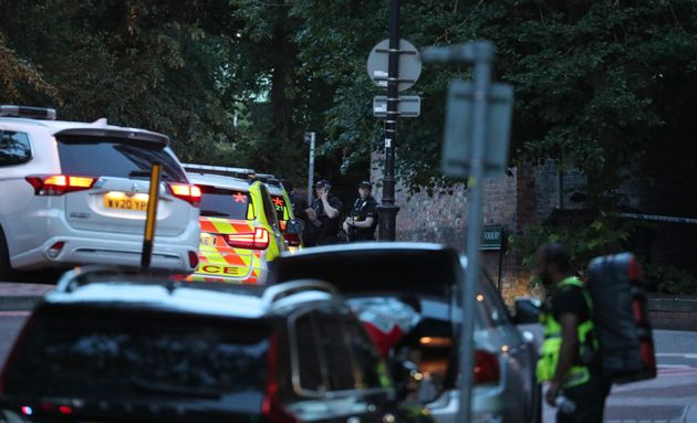 Police at Forbury Gardens in Reading town centre where they are responding to a suspected terror