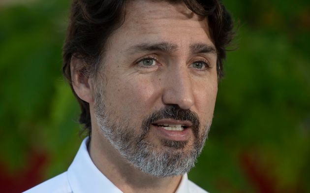 Prime Minister Justin Trudeau is seen during a news conference in Chelsea, Que. on