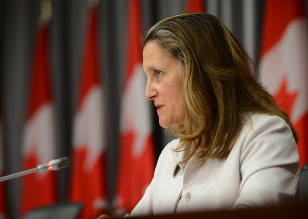 Deputy Prime Minister and Minister of Intergovernmental Affairs Chrystia Freeland speaks during a press...