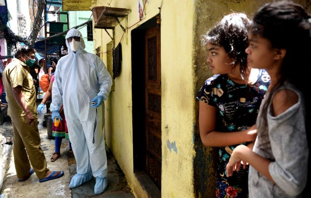 A health care worker in Mumbai's Dharavi on June 20, 2020 in Mumbai,