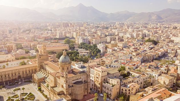 drone aerial view of old famous destination town Palermo is located in the northwest of the island of