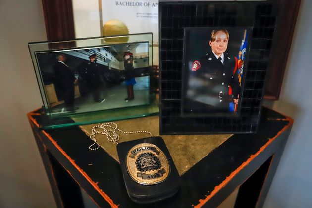 Mementos of Calgary Police Service Const. Kim Prodaniuk's career in the service are displayed at her...