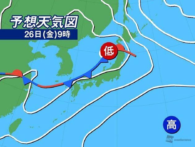 予想天気図 26日(金)9時