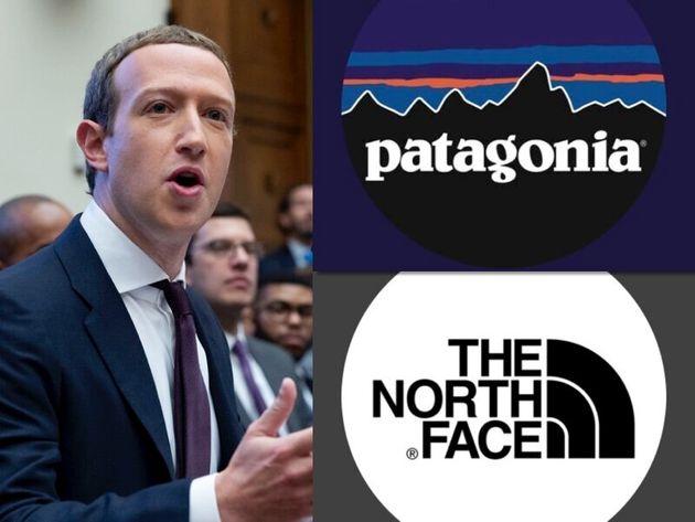FacebookのザッカーバーグCEO(左)と、パタゴニアとノースフェイスのブランドロゴ