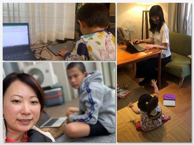 エクスペディア・グループで働くワーキングマザーたち、それぞれのリモートワークの風景(左上から吉江さん、山﨑さん、木村奈津子さん)
