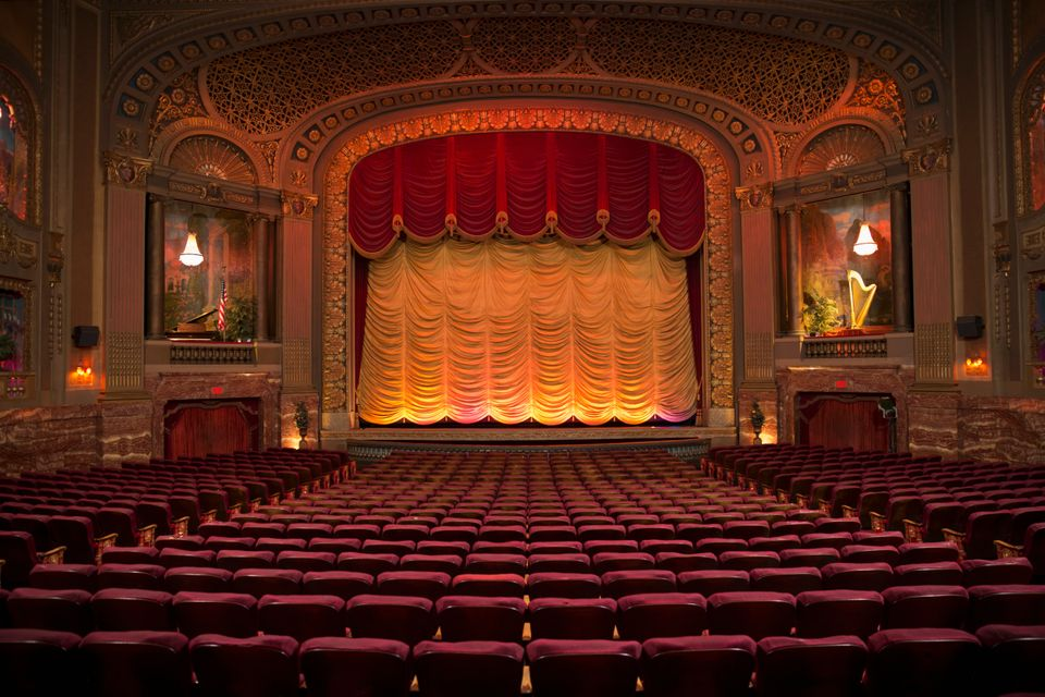 Empty seats in ornate theatre, as theatres across the country and internationally remain