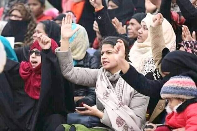 Pooja Shukla, a student leader in Samajwadi Party, at the anti-CAA protest at Ghanta Ghar on 21 January,