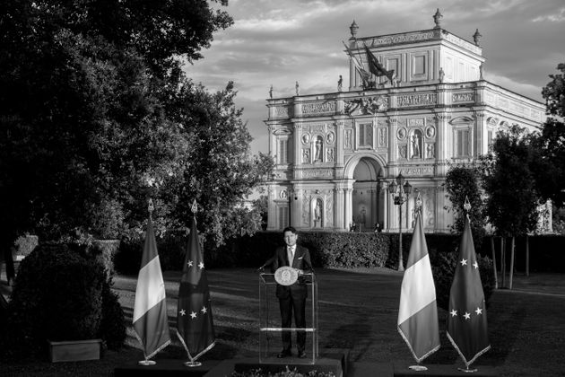 ROME, ITALY - JUNE 21: (EDITOR'S NOTE: Image has been converted to black and white) Italy's Prime Minister...