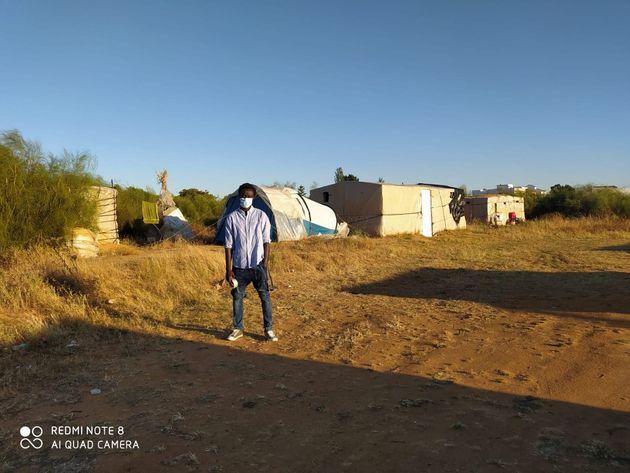 Seydou Diop, en los asentamientos de Lepe