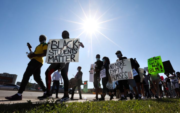 Students march against racism on June 17, 2020 in Brampton, Ont.