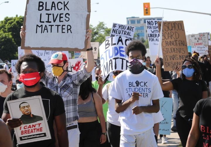 Students take part in the student-led March for Justice against racism on June 17, 2020.