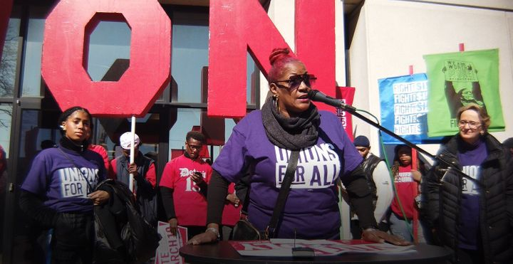 Trece Andrews, pictured here, is a union steward withSEIU Healthcare Michigan. Two residents of the nursing home where