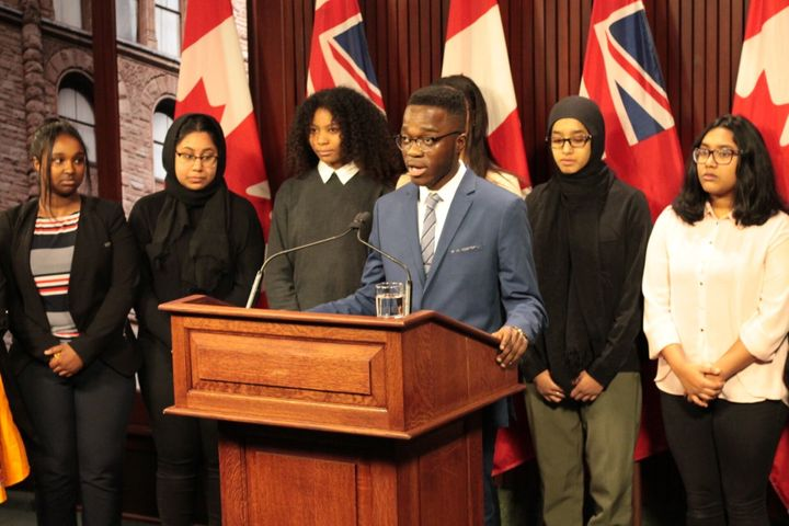 Stephen Mensah, education lead of the Toronto Youth Cabinet, speaks about the cabinet's recommendations to address anti-Black racism in schools at Queen's Park in February 2020.